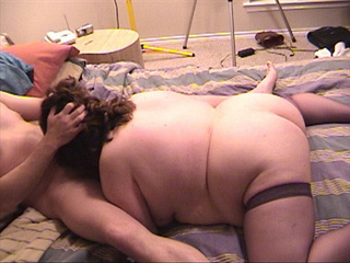 Brunette fatty in stockings spanked before fucking - Picture 1