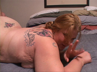 Tattooed fat bitch with fair hair jumps on cock with her - Picture 1