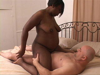 Chubby ebony mama riding on white cock - Picture 4