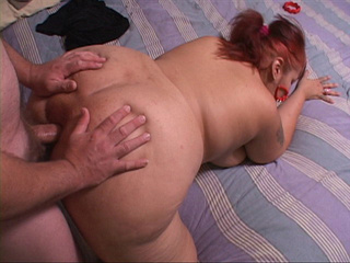 Red ponytailed fatty takes a dick into ass in doggy - Picture 3