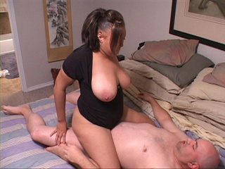 Ponytailed mom in black dress rides cock with her tits - Picture 4