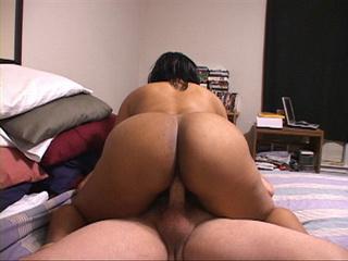 Black busty mom jumps on white boner - Picture 1