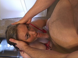 Busty mom in red stockings jumps on a long dong - Picture 1