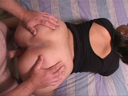 ponytailed chubby housewife black