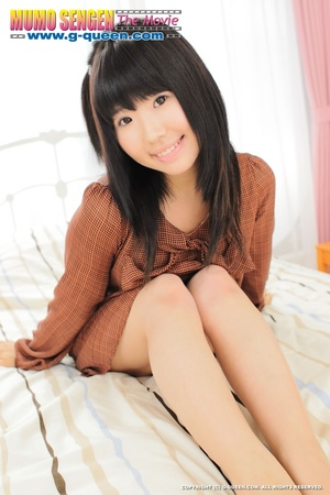 Japanese teen whore in brown blouse changes into red bikini - XXXonXXX - Pic 1