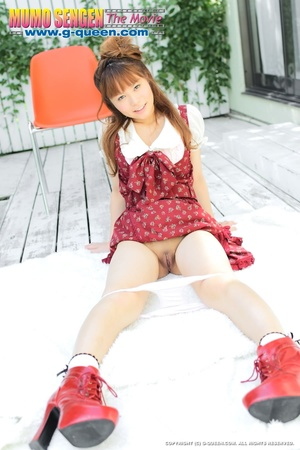 Red Japanese girl in funny red dress and boots posing without panties - XXXonXXX - Pic 12