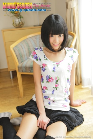 Slim Japanese teen in black stockings shows off her shaves twat - XXXonXXX - Pic 4