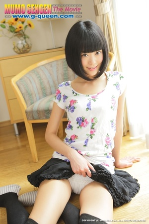 Slim Japanese teen in black stockings shows off her shaves twat - XXXonXXX - Pic 5