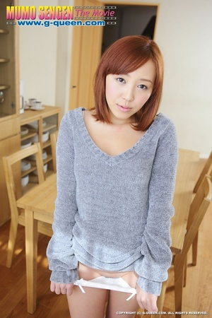Red Asian teen in sweater takes off her panties - XXXonXXX - Pic 8
