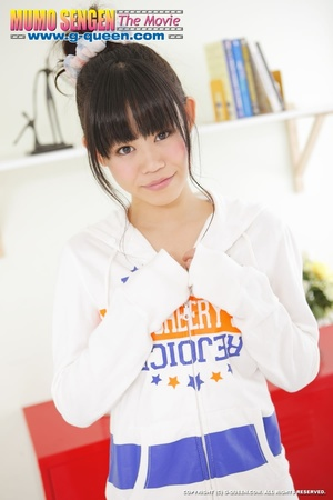 Ponytailed Japanese teen gal in jumper gets naked - XXXonXXX - Pic 1
