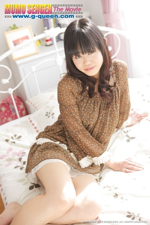 Shameless Japanese teen in brown blouse lifts her legs up to show her twat - XXXonXXX - Pic 2