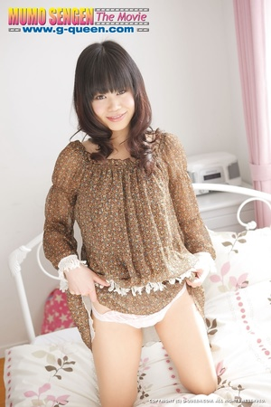 Shameless Japanese teen in brown blouse lifts her legs up to show her twat - XXXonXXX - Pic 3