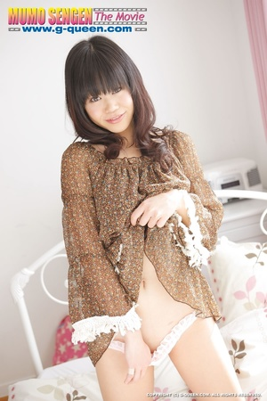Shameless Japanese teen in brown blouse lifts her legs up to show her twat - XXXonXXX - Pic 6