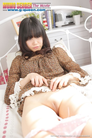 Shameless Japanese teen in brown blouse lifts her legs up to show her twat - XXXonXXX - Pic 12