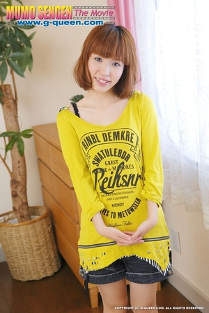 Busty Japanese teen in yellow jumper taking off her lovely panties - XXXonXXX - Pic 1