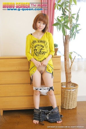 Busty Japanese teen in yellow jumper taking off her lovely panties - XXXonXXX - Pic 14