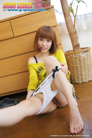Busty Japanese teen in yellow jumper taking off her lovely panties - XXXonXXX - Pic 19