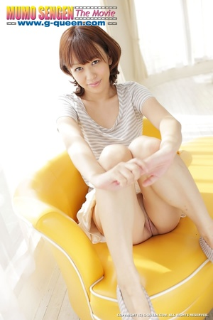 Lovely Asian teen gets naked and posing on yellow leather sofa - XXXonXXX - Pic 16