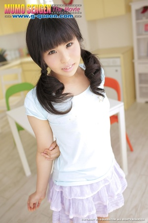 Pigtailed Japanese ten gal takes off her white panties - XXXonXXX - Pic 1