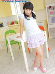 Pigtailed Japanese ten gal takes off her white - XXXonXXX - Pic 3