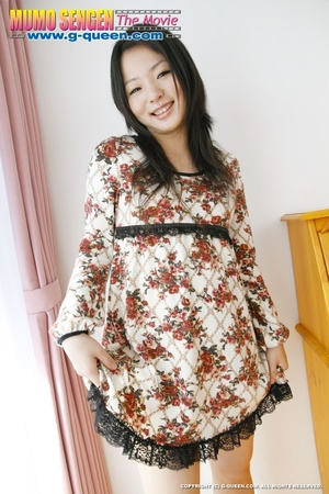 Long-haired Asian teen in flowered dress takes off her panties - XXXonXXX - Pic 1