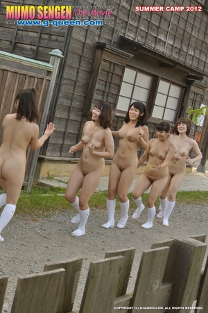 Nude Asian teen girls in long socks having fun in gym - XXXonXXX - Pic 1