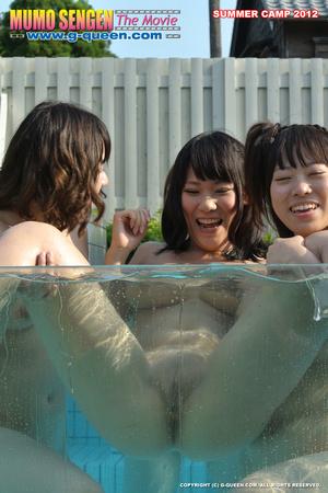 Naughty Asian school girls enjoys their time naked in the pool - XXXonXXX - Pic 2