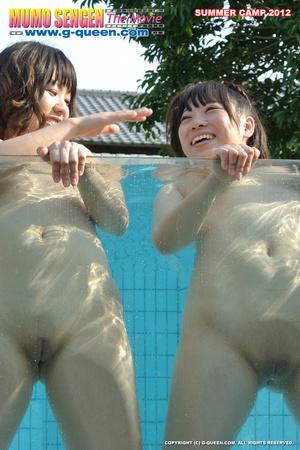 Naughty Asian school girls enjoys their time naked in the pool - XXXonXXX - Pic 11