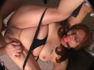 Red bitch in glasses with a gag-ball rimmed badly - Picture 2