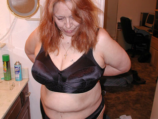 Big red BBW in atlas black lingerie riding thick meat - Picture 1