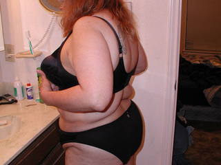 Big red BBW in atlas black lingerie riding thick meat - Picture 3