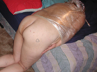Fat latina granny wrapped in film and assbanged - Picture 1