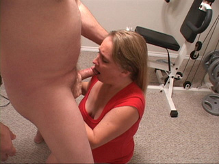 Chubby mom in red dress sucking dick in the gym - Picture 3