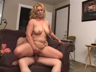 Chubby blonde housewife riding man's meat - Picture 4