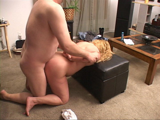 Chubby blonde mom jumping on stiff rod - Picture 3
