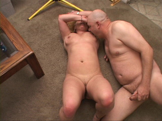 Bald dude riming hard hot blonde MILF with curly hair - Picture 4