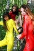 Three sexy latex babes seducing in the nature