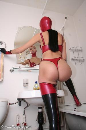 Sexy babe in latex underwear and stockin - XXX Dessert - Picture 1