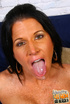 Hungry dark haired MILF eats big black sauceges
