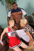 Cheerleader need help from mom to bang football…