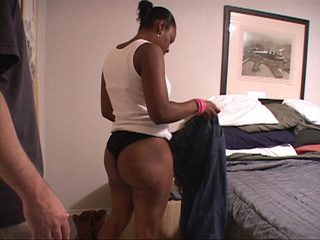 Hot big black mama takes off clothes to suck dick and - Picture 2