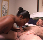 Hot big black mama takes off clothes to suck dick…