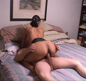 Hot ebony babe takes a go at some hot cow girl fuck action and anal penetration