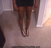 Hot looking black damsel in cute dress lifts dress…