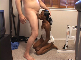 Sexy hot black chick in white negligee sucks dick and - Picture 2