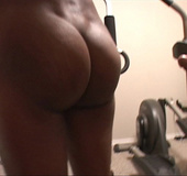 Horny mama in red bends real low in exercise room to get her butt fucked