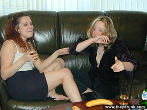 Sexy blond and redhead lesbians drinking and get so horny that they can't resist playing with each other - XXXonXXX - Pic 6
