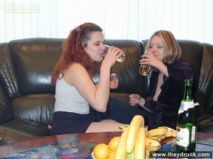 Sexy blond and redhead lesbians drinking and get so horny that they can't resist playing with each other - XXXonXXX - Pic 9