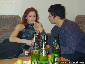 Drunk sexy redhead strips for her guy and takes his cock in her sweet hungry pussy - XXXonXXX - Pic 1