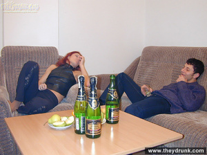 Drunk sexy redhead strips for her guy and takes his cock in her sweet hungry pussy - XXXonXXX - Pic 2